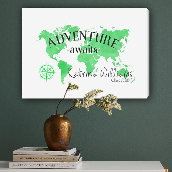Personalized Adventure Awaits Canvas Map - Green - JDS