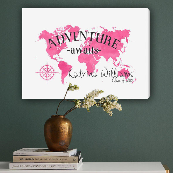 Personalized Adventure Awaits Canvas Map Wall Art - Pink - JDS