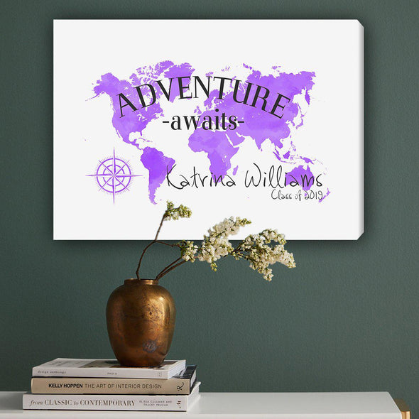 Personalized Adventure Awaits Canvas Map Wall Art - Purple - JDS