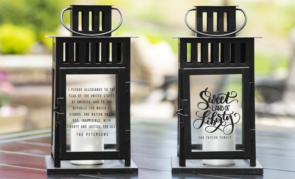 Personalized Patriotic Lanterns - Black - Qualtry