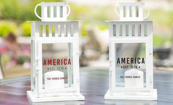 Personalized Patriotic Lanterns - White - Qualtry