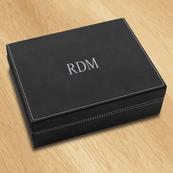 Personalized Vegan Leather Black Valet Box - 3Initials - JDS