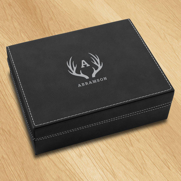 Personalized Vegan Leather Black Valet Box - Antler - JDS