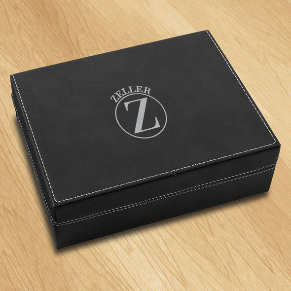 Personalized Vegan Leather Black Valet Box - Circle - JDS