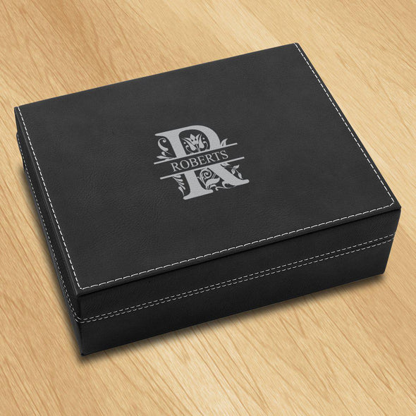 Personalized Vegan Leather Black Valet Box - Filigree - JDS