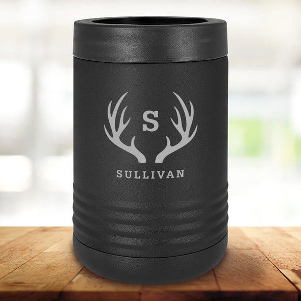 Personalized Black Can Coolers - Antlers - JDS
