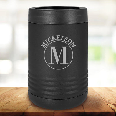 Personalized Black Can Coolers - Circle - JDS