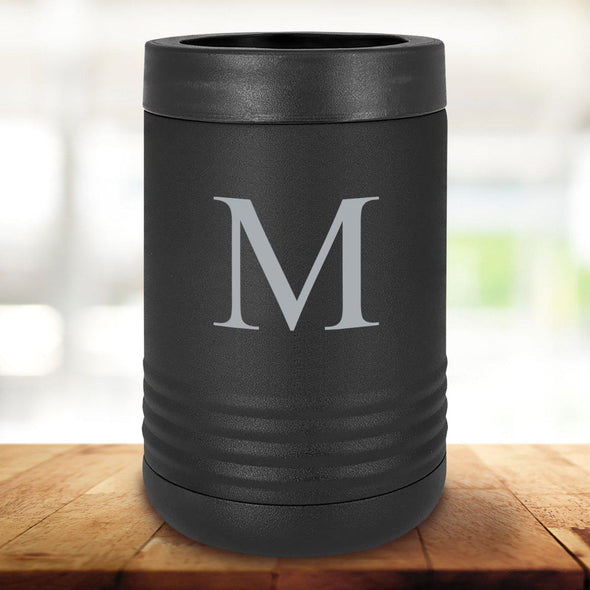 Personalized Black Can Coolers - Single Initial - JDS