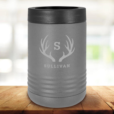 Personalized Gray Can Cooler - Antlers - JDS