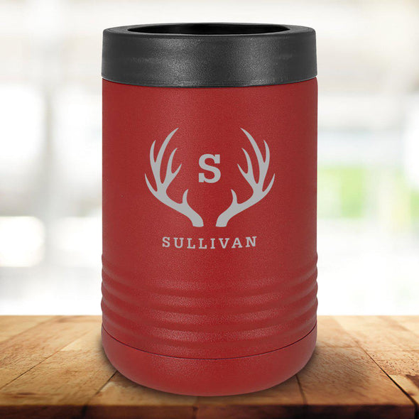 Personalized Maroon Can Cooler - Antlers - JDS