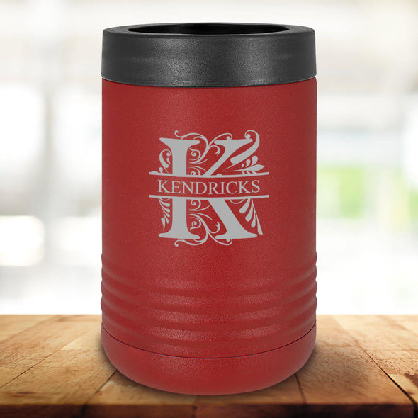 Personalized Maroon Can Cooler - Filigree - JDS