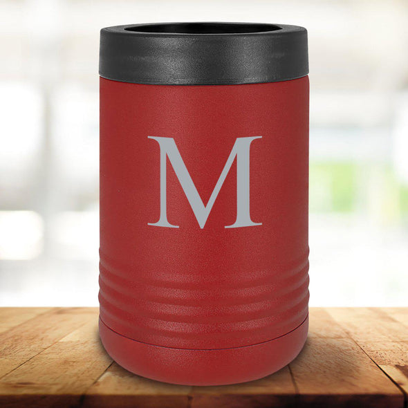 Personalized Maroon Can Cooler - Single Initial - JDS