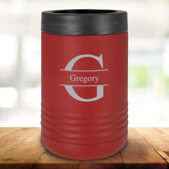 Personalized Maroon Can Cooler - Stamped - JDS