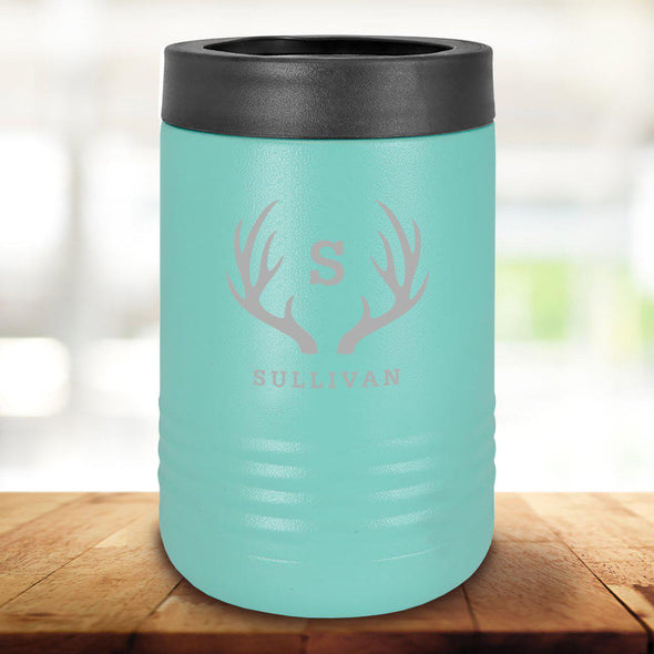 Personalized Mint Can Cooler - Antlers - JDS