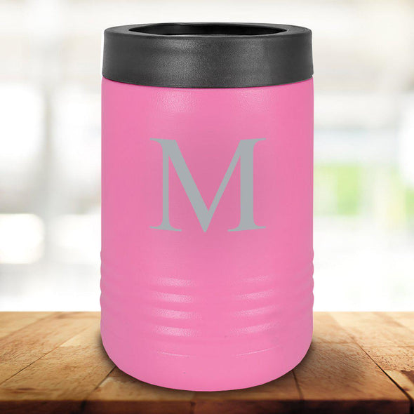 Personalized Pink Can Cooler - Single Initial - JDS