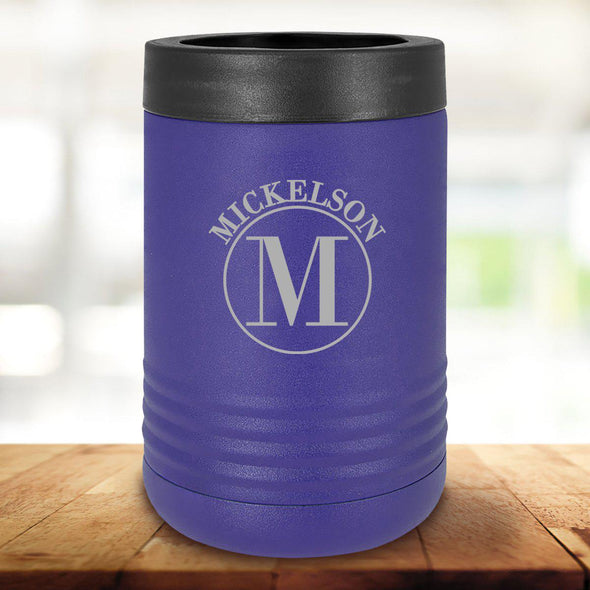 Personalized Purple Can Cooler - Circle - JDS