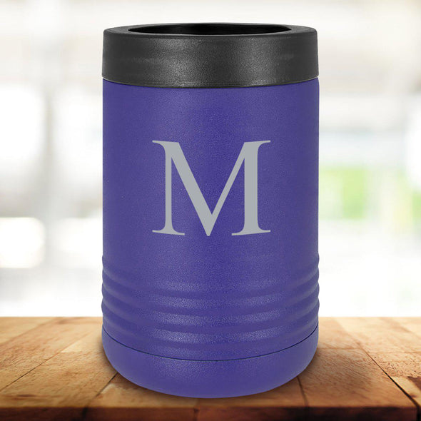 Personalized Purple Can Cooler - Single Initial - JDS