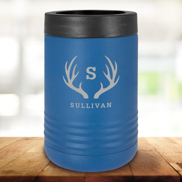 Personalized Royal Blue Can Cooler - Antlers - JDS