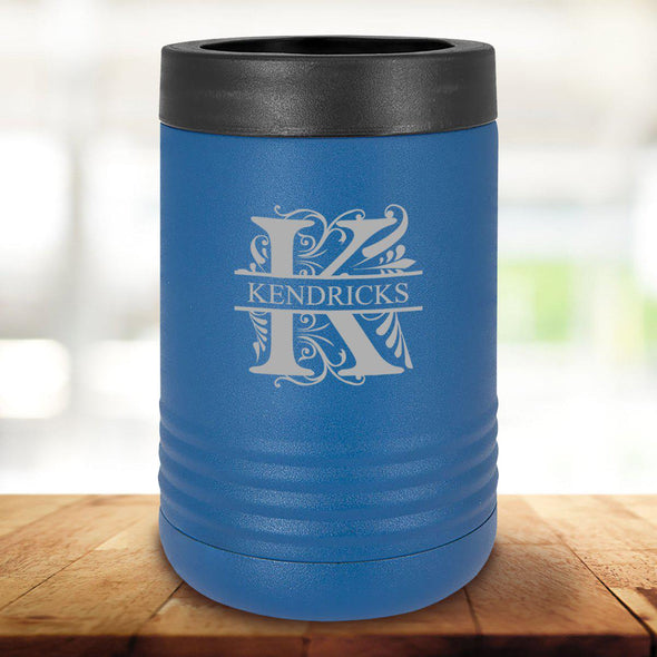 Personalized Royal Blue Can Cooler - Filigree - JDS