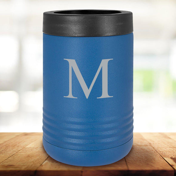 Personalized Royal Blue Can Cooler - Single Initial - JDS