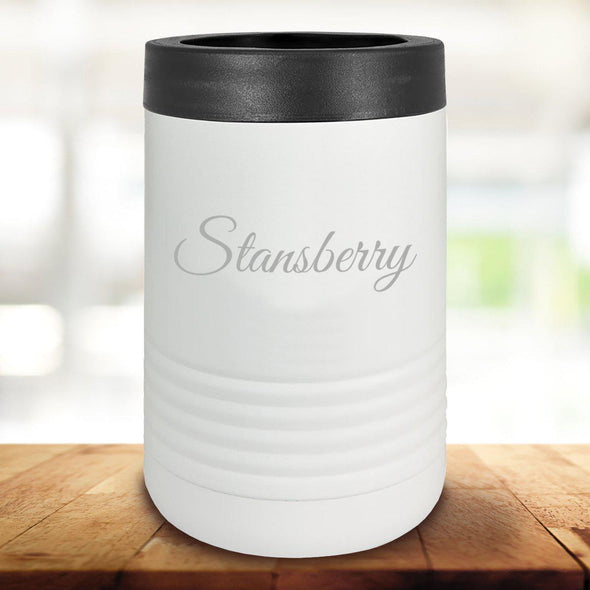 Personalized White Can Cooler - Script - JDS