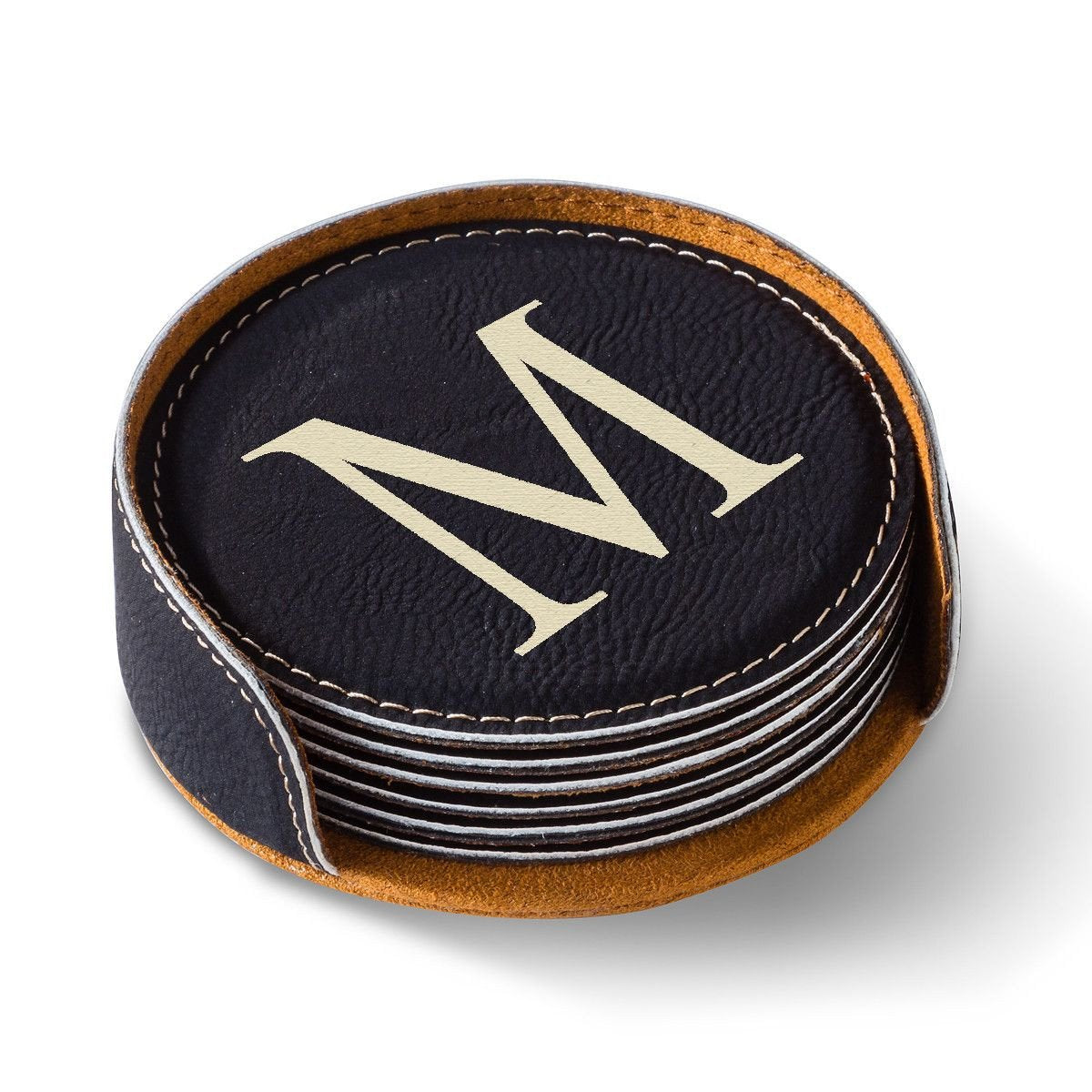 Personalized-Round-Leatherette-Coaster-Set-Available-in-Black-Dark-Brown-Light-Brown-and-Rawhide