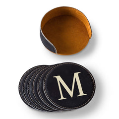 Personalized Round Leatherette Coaster Set - Available in Black, Dark Brown, Light Brown, and Rawhide
