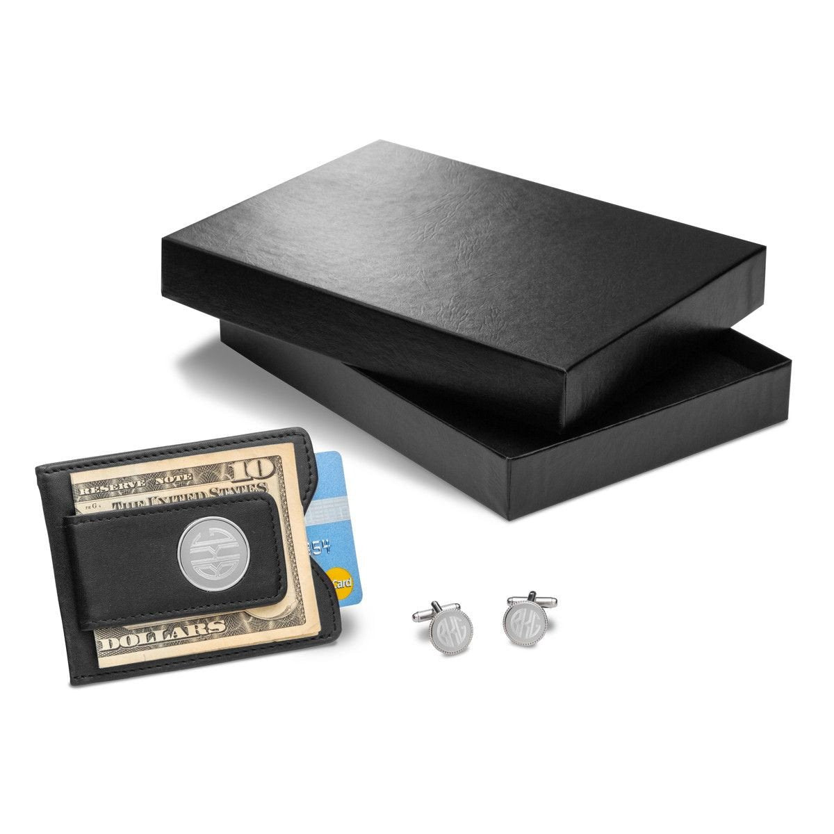 Personalized Black Leather Wallet & Monogrammed Cufflinks Gift Set