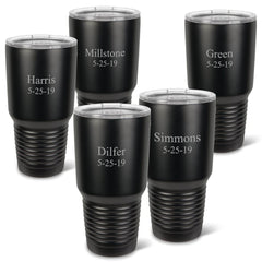 Personalized Húsavík 30 oz. Black Matte Double Wall Insulated Tumbler Set of 5 - All - 2Lines
