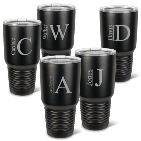 Personalized Húsavík 30 oz. Black Matte Double Wall Insulated Tumbler Set of 5 - All - Modern