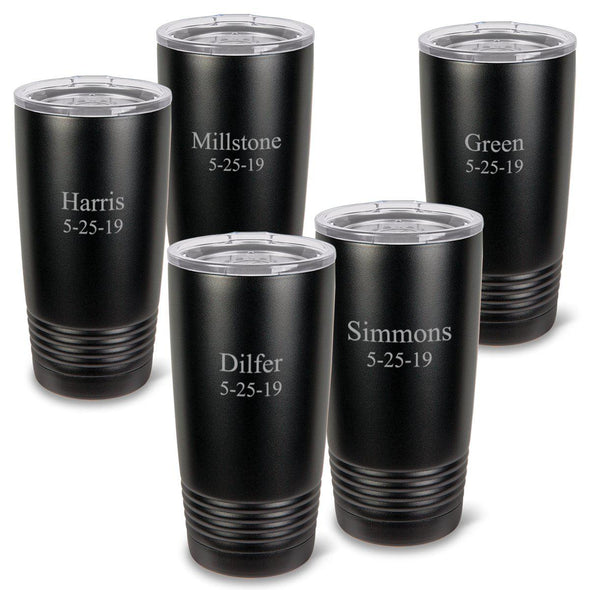 Personalized Matte Black 20 oz. Double Wall Insulated Tumblers Set of 5 -  - JDS