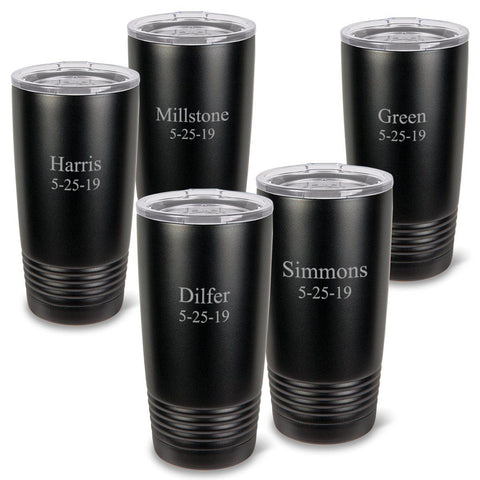 Personalized Húsavík 20 oz. Black Matte Double Wall Insulated Tumbler Set of 5 - All - 2Line
