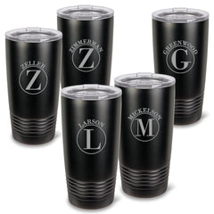 Personalized Húsavík 20 oz. Black Matte Double Wall Insulated Tumbler Set of 5 - All - Circle