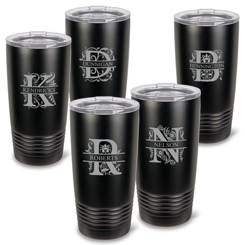 Personalized Húsavík 20 oz. Black Matte Double Wall Insulated Tumbler Set of 5 - All - Filigree
