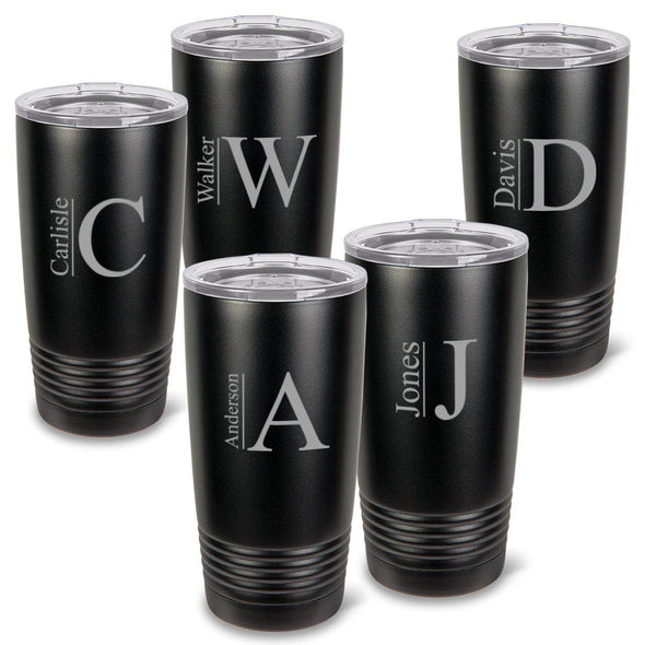 Personalized 20 oz. Black Matte Double Wall Insulated Tumbler Set of 5 - All - Modern - JDS
