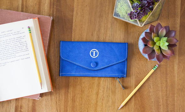 Monogrammed Womens Wallets - Blue - Qualtry