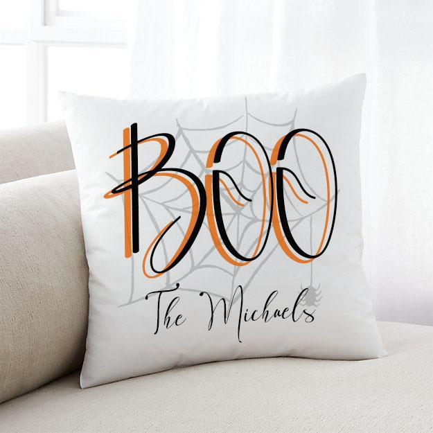 Personalized BOO Halloween Throw Pillow