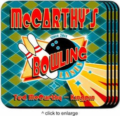 Personalized Coaster Set - Bowling - Personalized Barware - AGiftPersonalized