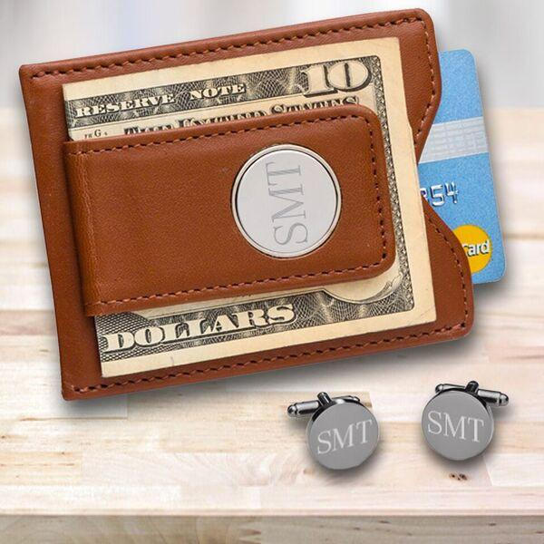 Personalized Brown Leather Money Clip & Gunmetal Cufflinks Gift Set