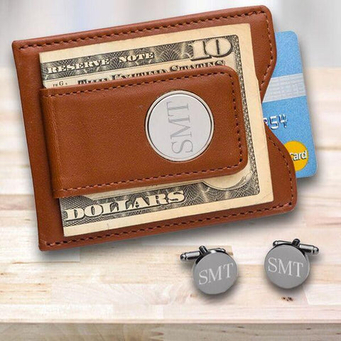 Personalized Brown Leather Wallet/Money Clip & Gunmetal Cufflinks Gift Set -