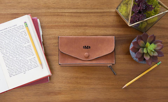 Monogrammed Womens Wallets - Brown - Qualtry