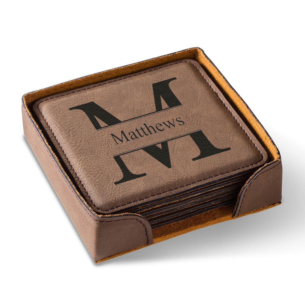 Personalized Brown Square Coaster Set