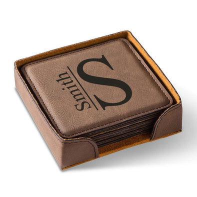 Personalized Brown Square Coaster Set - Modern - JDS