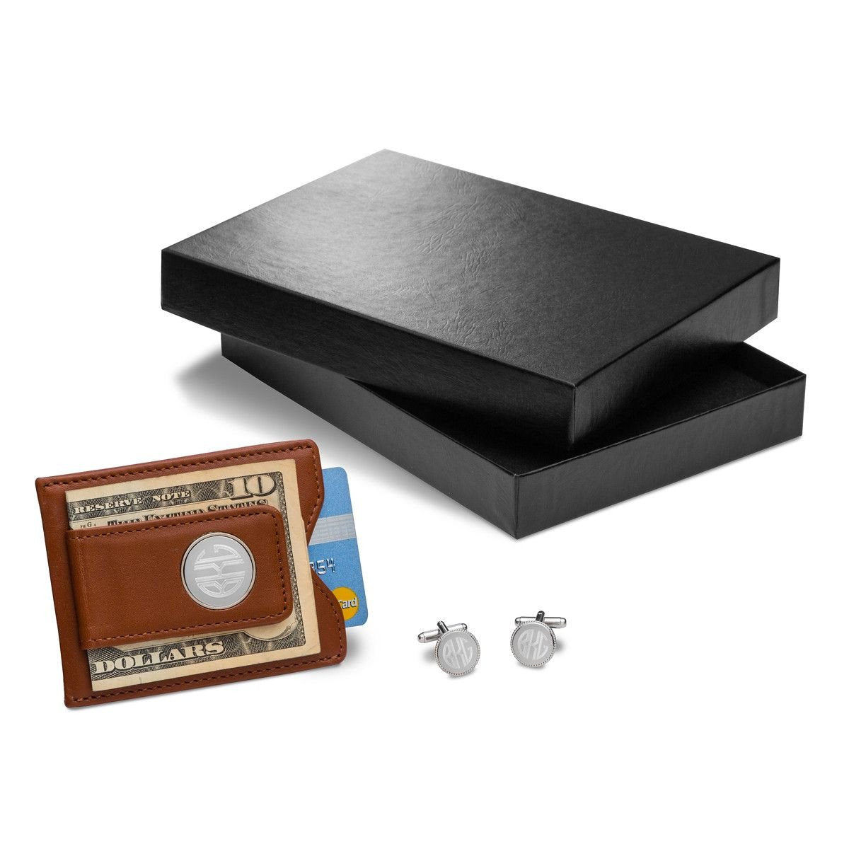 Personalized Brown Leather Wallet & Monogram Cufflinks Gift Set
