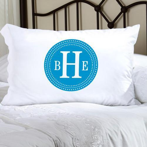 Personalized Felicity Chic Circles Pillow Case - Blue & White - JDS