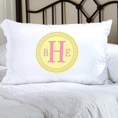 Personalized Felicity Chic Circles Pillow Case - Yellow & Pink - JDS