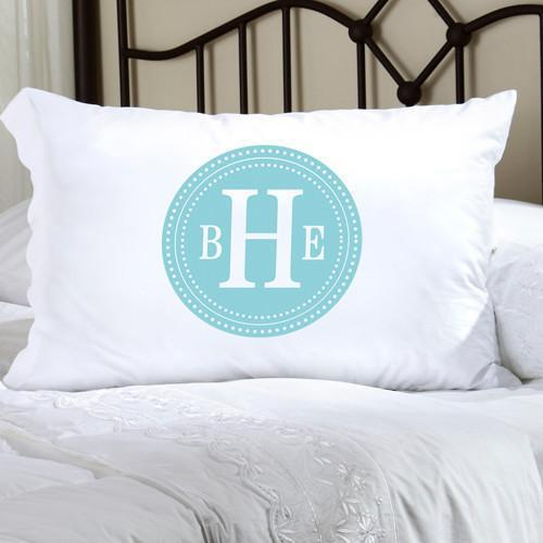 Personalized Felicity Chic Circles Pillow Case - Light Blue & White - JDS