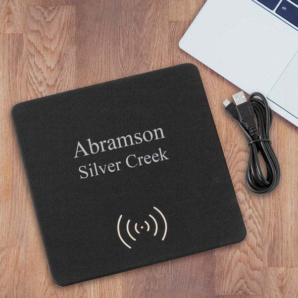 Personalized Black & Silver Charging Pad - 2Lines - JDS