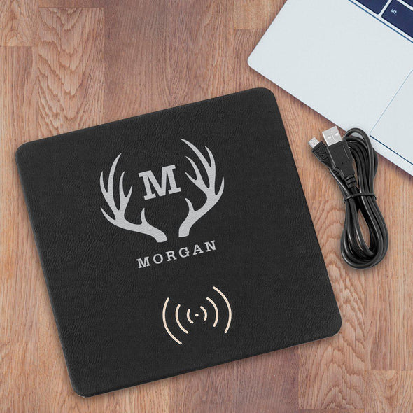 Personalized Black & Silver Charging Pad Gift - Antlers - JDS