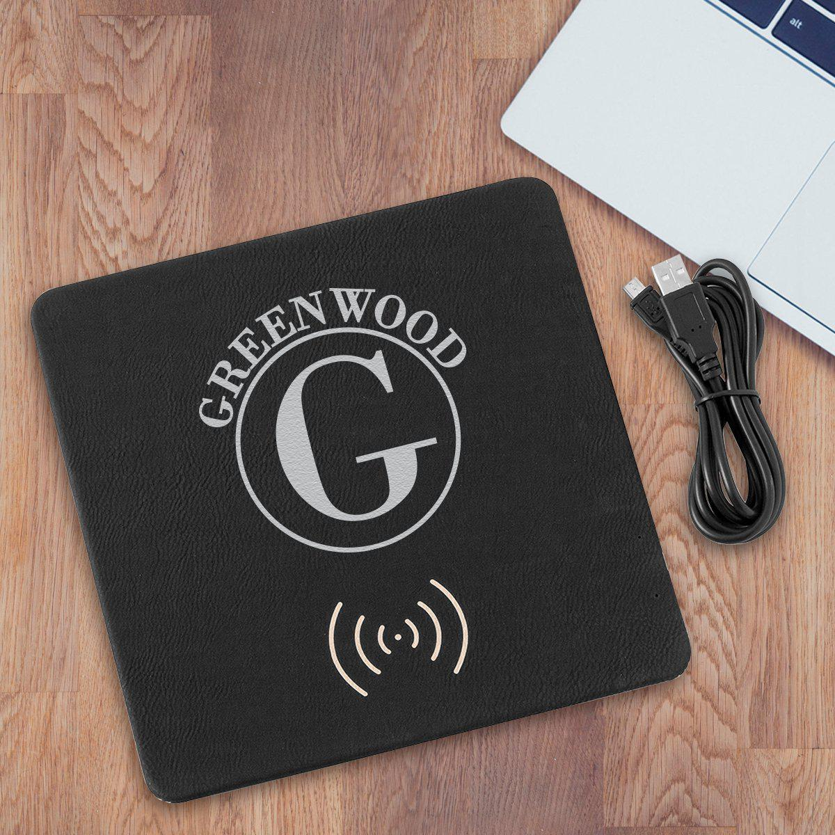 Personalized Black & Silver Charging Pad Gift